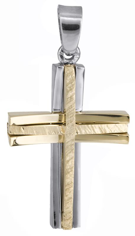Σταυροί Βάπτισης - Αρραβώνα Δίχρωμος αντρικός σταυρός Κ18 023588 023588 Ανδρικό Χρυσός 18 Καράτια