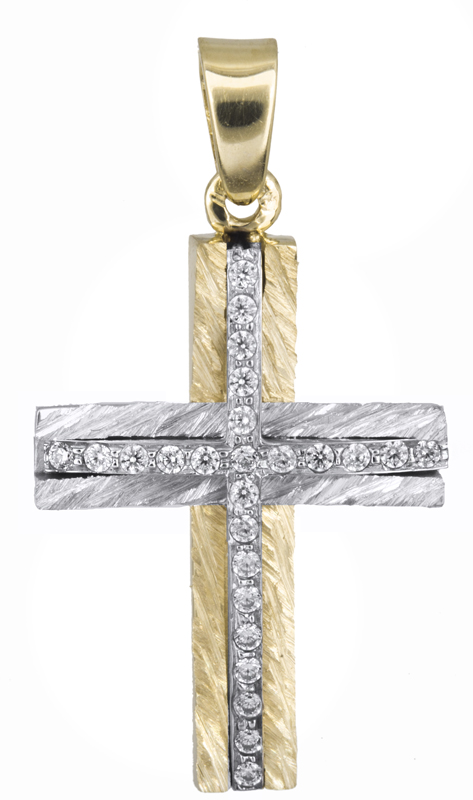 Σταυροί Βάπτισης - Αρραβώνα Δίχρωμος γυναικείος σταυρός Κ14 021366 021366 Γυναικείο Χρυσός 14 Καράτια