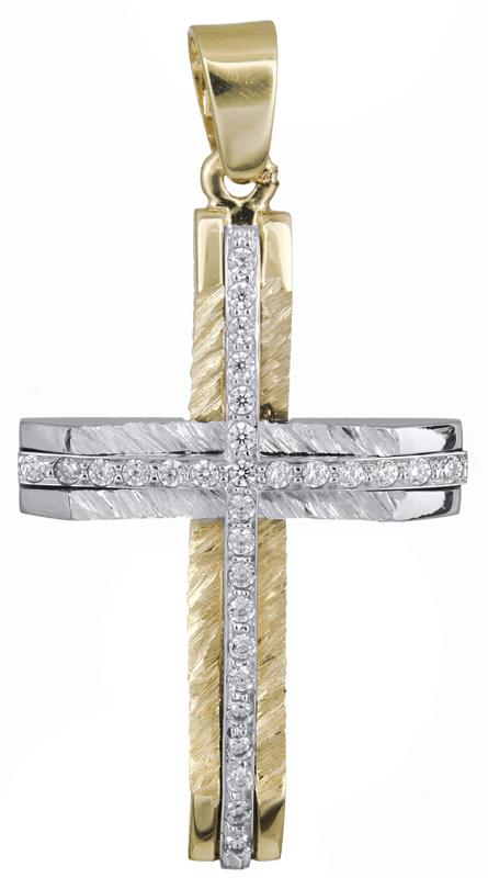 Σταυροί Βάπτισης - Αρραβώνα Γυναικείος σταυρός με πέτρες 14Κ 021367 021367 Γυναικείο Χρυσός 14 Καράτια