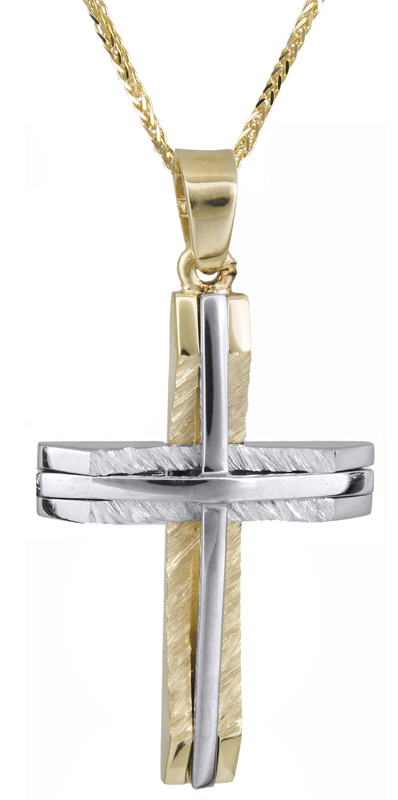Βαπτιστικοί Σταυροί με Αλυσίδα Αντρικός δίχρωμος σταυρός με αλυσίδα C021368 021368C Ανδρικό Χρυσός 14 Καράτια