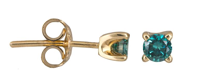 Χρυσά σκουλαρίκια με μπλε διαμάντια Κ18 021372 021372 Χρυσός 18 Καράτια