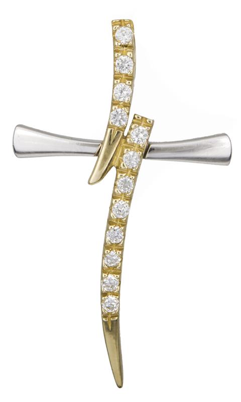 Σταυροί Βάπτισης - Αρραβώνα Γυναικείος δίχρωμος σταυρός Κ9 021374 021374 Γυναικείο Χρυσός 9 Καράτια