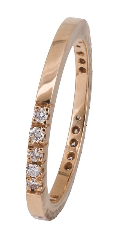 Ροζ χρυσό δαχτυλίδι Κ18 με διαμάντια 021396 021396 Χρυσός 18 Καράτια