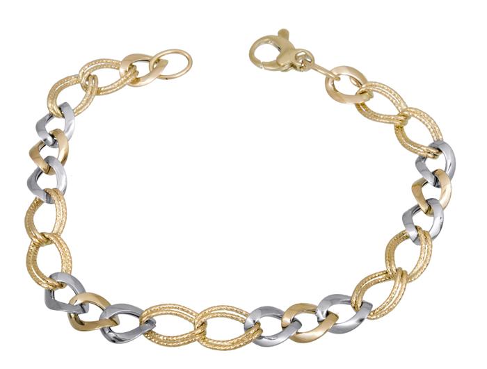 Δίχρωμο γυναικείο βραχιόλι Κ14 021406 021406 Χρυσός 14 Καράτια
