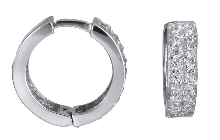 Λευκόχρυσοι κρίκοι με πέτρες Κ14 021408 021408 Χρυσός 14 Καράτια