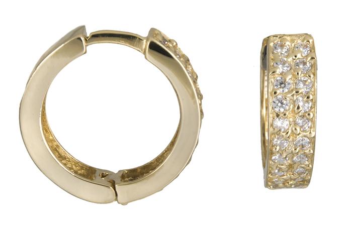 Χρυσοί κρίκοι με πέτρες Κ14 021409 021409 Χρυσός 14 Καράτια χρυσά κοσμήματα σκουλαρίκια κρίκοι πάχος 3 0   4 0 mm