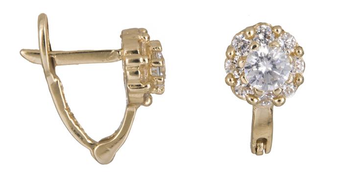 Χρυσά σκουλαρίκια λουλούδι με πέτρες Κ14 021410 021410 Χρυσός 14 Καράτια