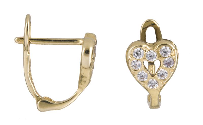 Χρυσά σκουλαρίκια με πετράτες καρδούλες Κ14 021413 021413 Χρυσός 14 Καράτια