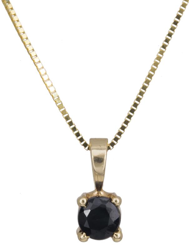 Κολιέ χρυσό με μαύρη ζιργκόν Κ14 021419 021419 Χρυσός 14 Καράτια