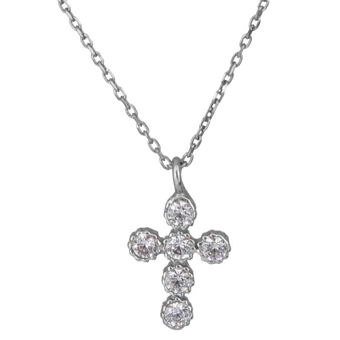 Λευκόχρυσο γυναικείο σταυρουδάκι με πέτρες Κ14 021421 021421 Χρυσός 14 Καράτια