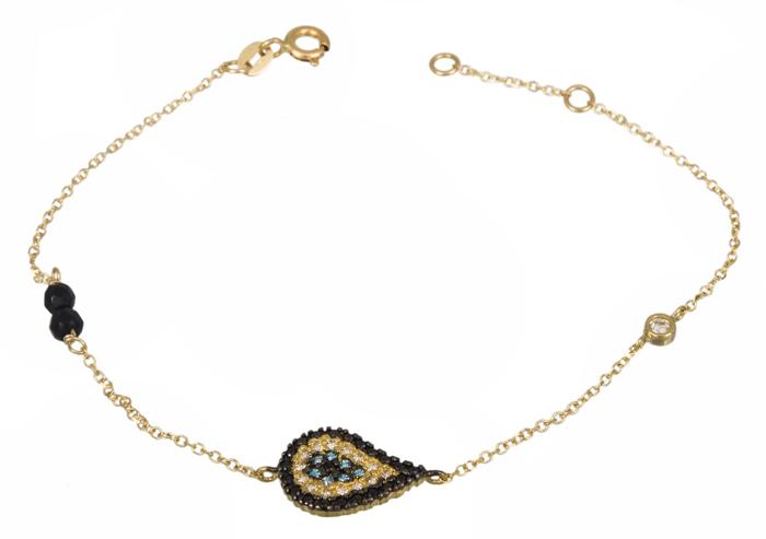 Γυναικείο βραχιόλι με πετράτο μάτι Κ14 021425 021425 Χρυσός 14 Καράτια