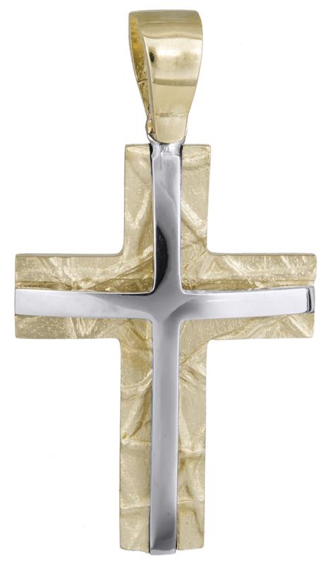 Σταυροί Βάπτισης - Αρραβώνα Δίχρωμος βαπτιστικός σταυρός Κ14 021453 021453 Ανδρικό Χρυσός 14 Καράτια