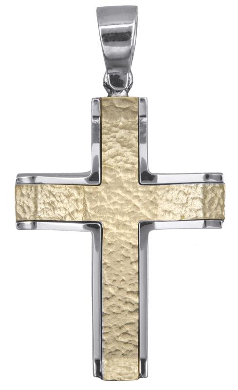 Σταυροί Βάπτισης - Αρραβώνα Δίχρωμος βαπτιστικός σταυρός Κ14 021457 021457 Ανδρικό Χρυσός 14 Καράτια