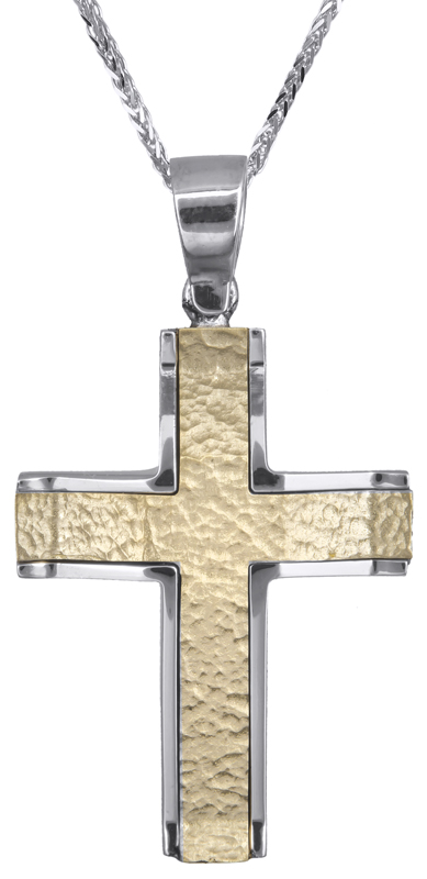 Βαπτιστικοί Σταυροί με Αλυσίδα Δίχρωμος σταυρός με αλυσίδα 14Κ C021457 021457C Ανδρικό Χρυσός 14 Καράτια