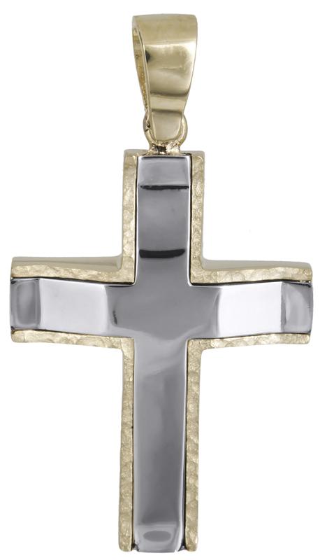 Σταυροί Βάπτισης - Αρραβώνα Δίχρωμος βαπτιστικός σταυρός Κ14 021458 021458 Ανδρικό Χρυσός 14 Καράτια