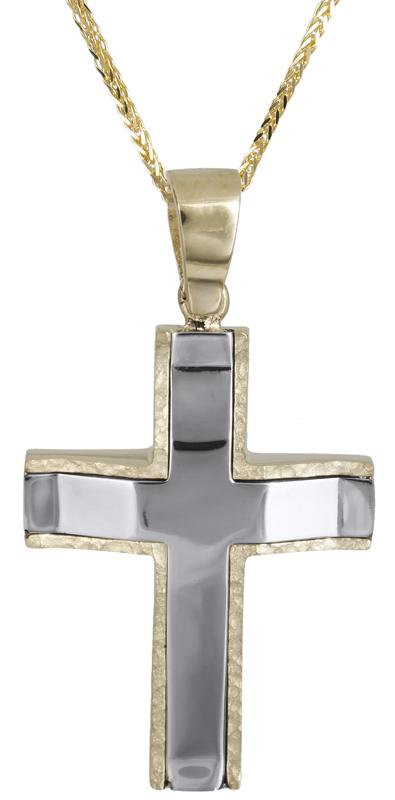 Βαπτιστικοί Σταυροί με Αλυσίδα Δίχρωμος αντρικός σταυρός με αλυσίδα Κ14 C021458 021458C Ανδρικό Χρυσός 14 Καράτια
