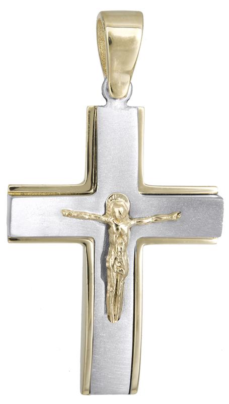 Σταυροί Βάπτισης - Αρραβώνα Αντρικός σταυρός με τον Εσταυρωμένο 14Κ 021459 021459 Ανδρικό Χρυσός 14 Καράτια