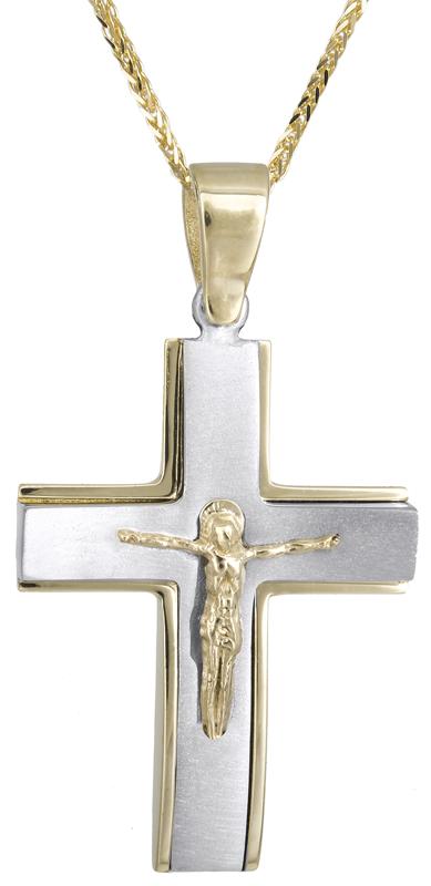 Βαπτιστικοί Σταυροί με Αλυσίδα Αντρικός δίχρωμος σταυρός με αλυσίδα C021459 021459C Ανδρικό Χρυσός 14 Καράτια