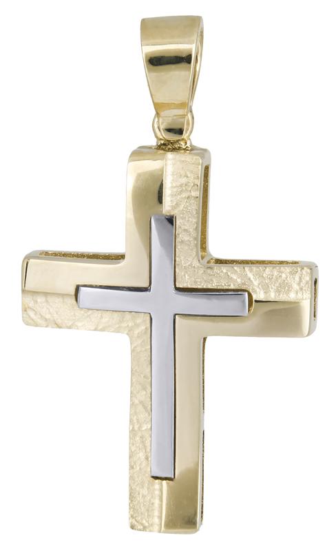 Σταυροί Βάπτισης - Αρραβώνα Δίχρωμος σταυρός για αγόρι Κ14 021461 021461 Ανδρικό Χρυσός 14 Καράτια