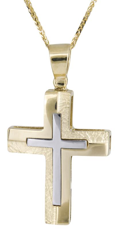 Βαπτιστικοί Σταυροί με Αλυσίδα Δίχρωμος σταυρός με αλυσίδα Κ14 C021461 021461C Ανδρικό Χρυσός 14 Καράτια