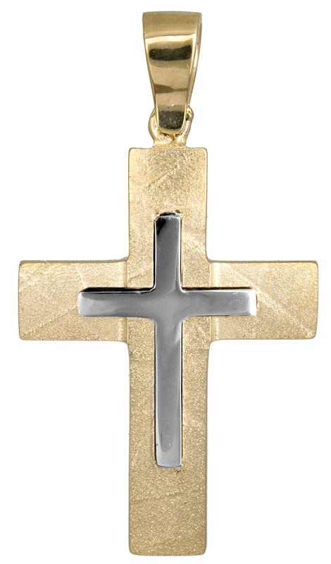 Σταυροί Βάπτισης - Αρραβώνα Αντρικός δίχρωμος σταυρός 14Κ 021462 021462 Ανδρικό Χρυσός 14 Καράτια