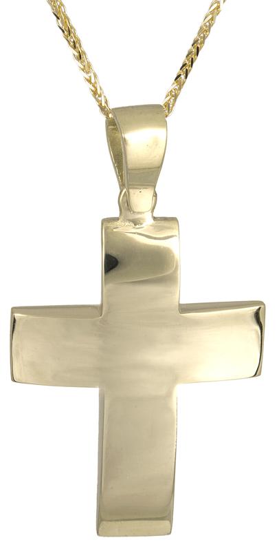 Βαπτιστικοί Σταυροί με Αλυσίδα Κλασικός αντρικός σταυρός 14Κ C021466 021466C Ανδρικό Χρυσός 14 Καράτια