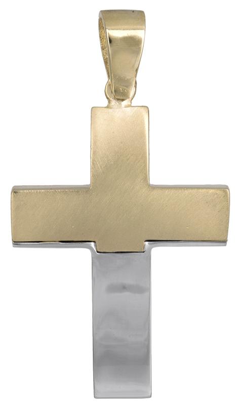 Σταυροί Βάπτισης - Αρραβώνα Δίχρωμος σταυρός για αγοράκι Κ14 021468 021468 Ανδρικό Χρυσός 14 Καράτια