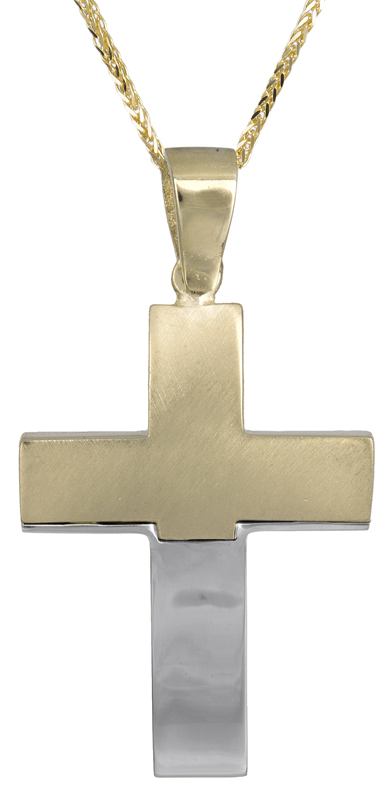 Βαπτιστικοί Σταυροί με Αλυσίδα Βαπτιστικός δίχρωμος σταυρός 14Κ C021468 021468C Ανδρικό Χρυσός 14 Καράτια