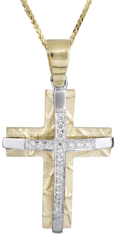 Βαπτιστικοί Σταυροί με Αλυσίδα Δίχρωμος σταυρός για κορίτσι 14Κ C021469 021469C Γυναικείο Χρυσός 14 Καράτια