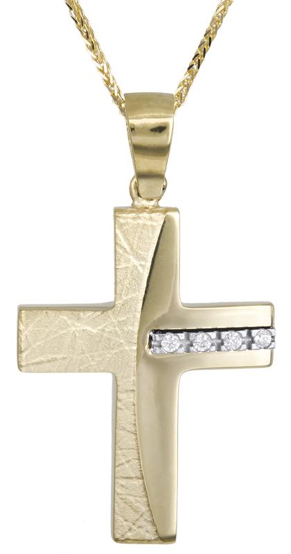 Βαπτιστικοί Σταυροί με Αλυσίδα Γυναικείος σταυρός με πέτρες 14Κ C021472 021472C Γυναικείο Χρυσός 14 Καράτια