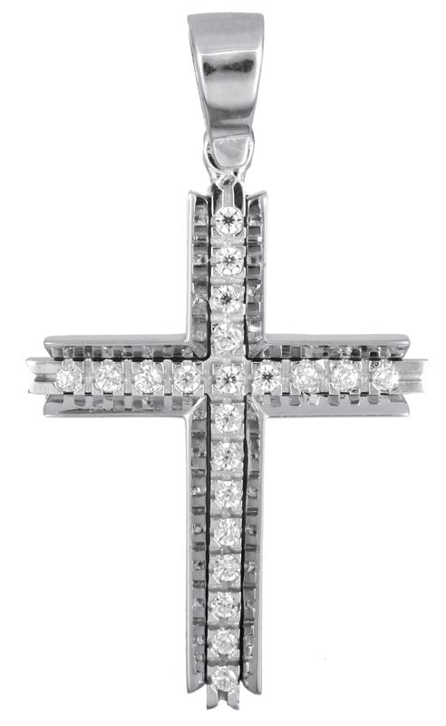 Σταυροί Βάπτισης - Αρραβώνα Λευκόχρυσος σταυρός με ζιργκόν Κ14 021474 021474 Γυναικείο Χρυσός 14 Καράτια
