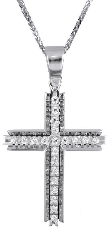 Βαπτιστικοί Σταυροί με Αλυσίδα Λευκόχρυσος σταυρός για κορίτσι Κ14 C021474 021474C Γυναικείο Χρυσός 14 Καράτια