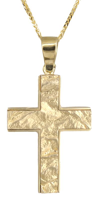 Βαπτιστικοί Σταυροί με Αλυσίδα Χρυσός ανδρικός σταυρός Κ14 C021485 021485C Ανδρικό Χρυσός 14 Καράτια