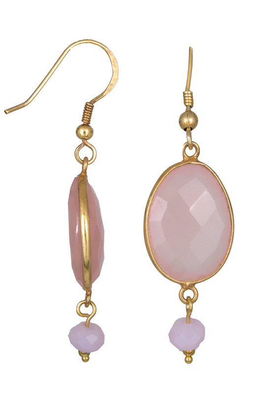 Σκουλαρίκια με ροζ Quartz 021557 021557 Ασήμι
