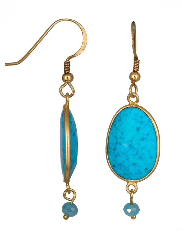 Σκουλαρίκια με τυρκουάζ 021558 021558 Ασήμι ασημένια κοσμήματα σκουλαρίκια