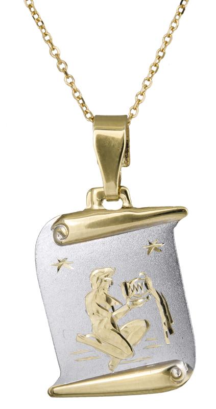 Κολιέ του Υδροχόου Κ14 C021561 021561C Χρυσός 14 Καράτια χρυσά κοσμήματα ζώδια