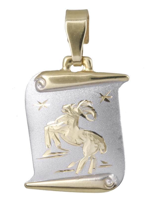 Δίχρωμο κρεμαστό Κ14 του Κριού 021566 021566 Χρυσός 14 Καράτια