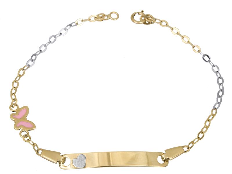 Δίχρωμη ταυτότητα Κ14 με πεταλούδα 021587 021587 Χρυσός 14 Καράτια