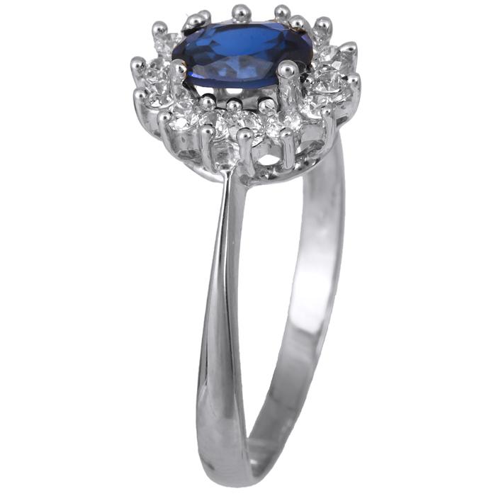 Λευκόχρυσο δαχτυλίδι - ροζέτα με μπλε ζιργκόν 14Κ 021629 021629 Χρυσός 14 Καράτια