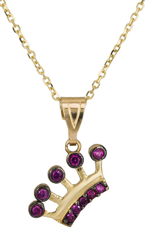 Γυναικείο κολιέ κορώνα με πέτρες Κ14 C021674 021674C Χρυσός 14 Καράτια