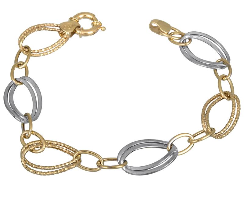Δίχρωμο γυναικείο βραχιόλι Κ14 021694 021694 Χρυσός 14 Καράτια