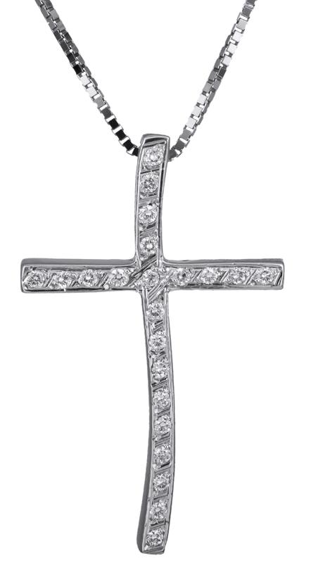 Βαπτιστικοί Σταυροί με Αλυσίδα Λευκόχρυσος σταυρός με αλυσίδα 18Κ C021700 021700C Γυναικείο Χρυσός 18 Καράτια