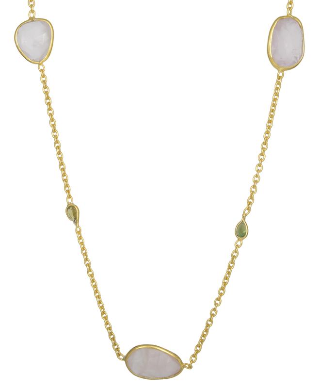 Επίχρυσο ροζάριο με quartz πέτρες 925 021709 021709 Ασήμι