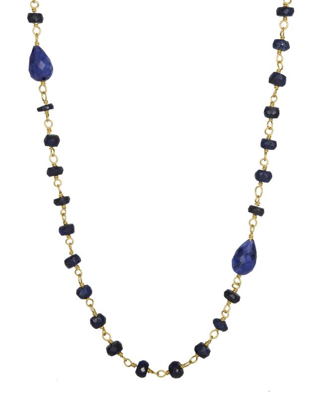 Επίχρυσο ροζάριο με ζαφειράκια 925 021714 021714 Ασήμι ασημένια κοσμήματα κολιέ