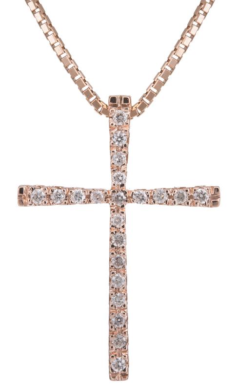 Βαπτιστικοί Σταυροί με Αλυσίδα Ροζ gold σταυρός με διαμάντια Κ18 021729 021729 Γυναικείο Χρυσός 18 Καράτια