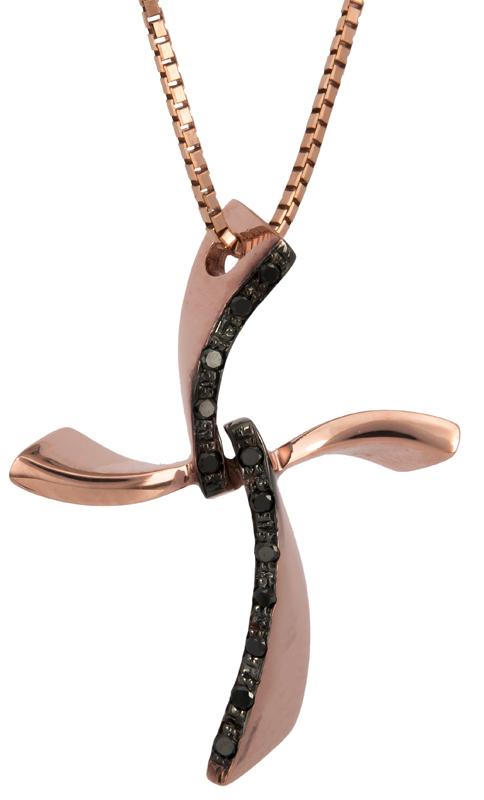 Βαπτιστικοί Σταυροί με Αλυσίδα Σταυρός σε ροζ χρυσό 18Κ με μαύρα διαμάντια 021829 021829 Γυναικείο Χρυσός 18 Καράτια