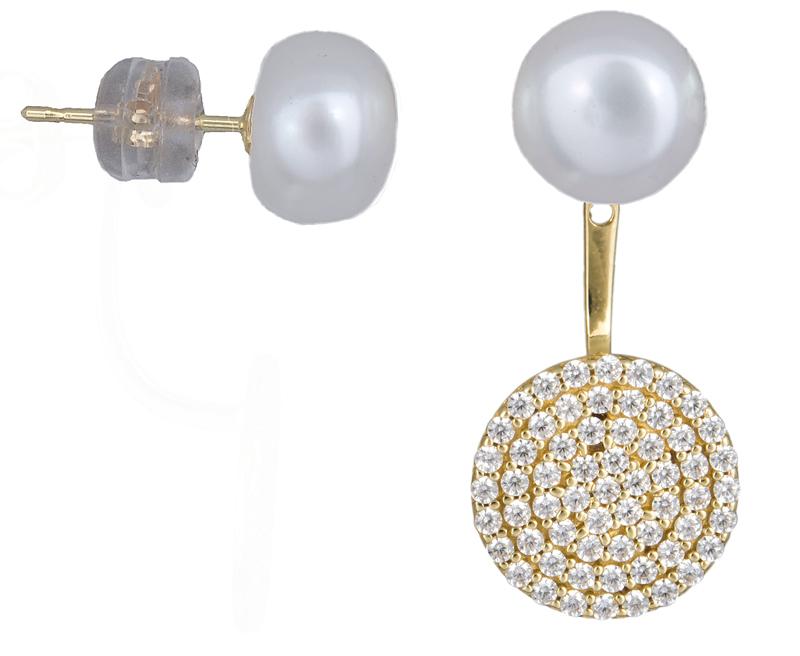 Χρυσά διπλά σκουλαρίκια με μαργαριτάρια Κ14 021832 021832 Χρυσός 14 Καράτια χρυσά κοσμήματα σκουλαρίκια καρφωτά