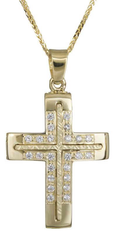 Βαπτιστικοί Σταυροί με Αλυσίδα Σταυρός βάπτισης Κ14 C021847 021847C Γυναικείο Χρυσός 14 Καράτια