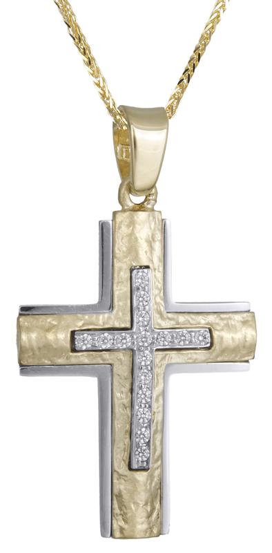 Βαπτιστικοί Σταυροί με Αλυσίδα Δίχρωμος σταυρός Κ14 με ζιργκόν C021851 021851C Γυναικείο Χρυσός 14 Καράτια