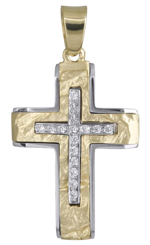 Σταυροί Βάπτισης - Αρραβώνα Γυναικείος δίχρωμος σταυρός Κ14 021852 021852 Γυναικείο Χρυσός 14 Καράτια